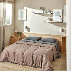 Parure de lit drap plat lavable grise + couette lavable taupe Easytex